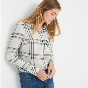 WHBM White and Black Plaid Button Down Shirt